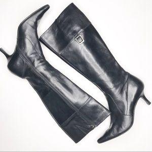 Joan & David Black Pointed Toe Knee High Boots